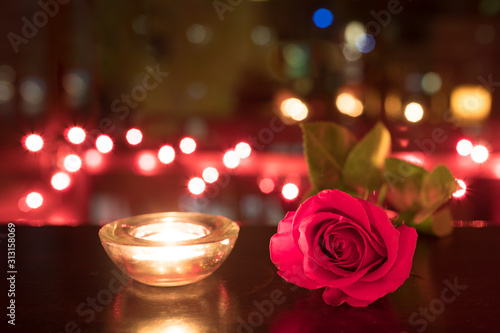 Romantic mood with red rose and candle light's