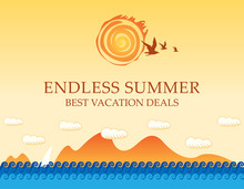 Vector Travel Banner With The Seascape And Words Endless Summer. Illustration With Seagulls In The Sky And White Sailboat In The Sea. Suitable For Poster, Flyer, Invitation Or Card In Cartoon Style