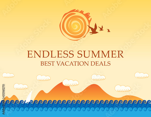 Obraz Vector travel banner with the seascape and words Endless summer. Illustration with seagulls in the sky and white sailboat in the sea. Suitable for poster, flyer, invitation or card in cartoon style - fototapety do salonu