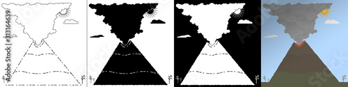 Canvas Print Set of vector illustration of an erupting volcano