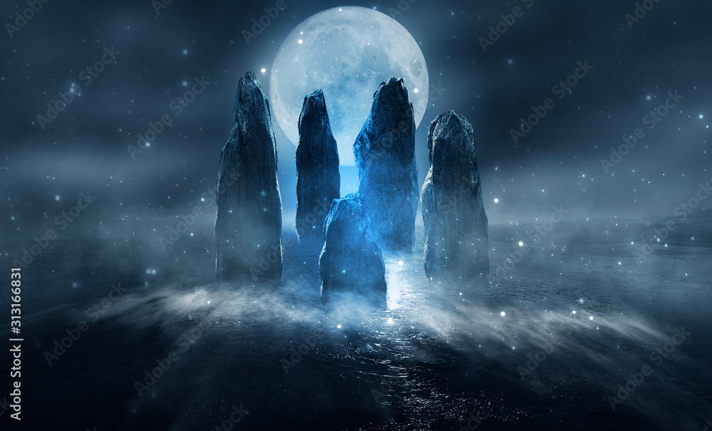 Fototapeta Futuristic night landscape with abstract island. Large magic stones, moonlight, sparkle. Dark natural scene with reflection of light in the water, neon blue light. Dark neon background.