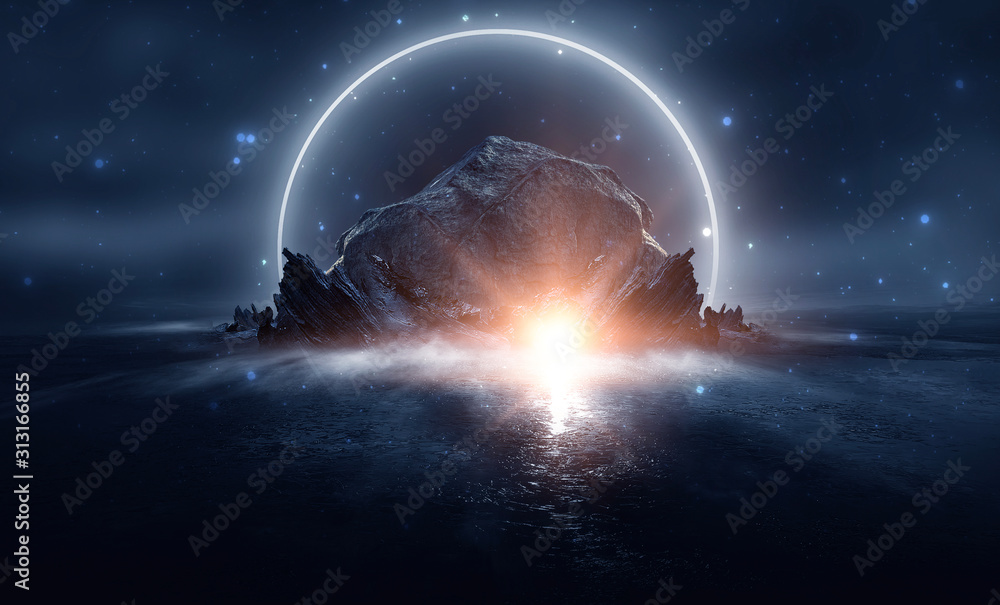 Obraz Futuristic night landscape with abstract landscape and island, moonlight, shine. Dark natural scene with reflection of light in the water, neon blue light. Dark neon circle background. fototapeta, plakat