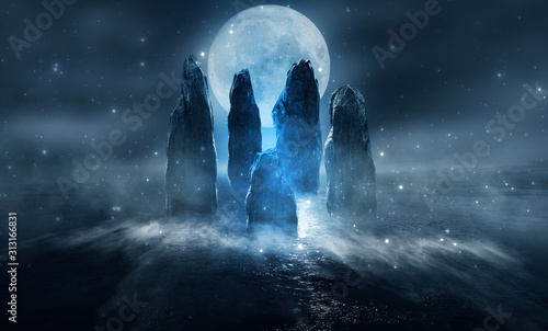 Obraz Futuristic night landscape with abstract island. Large magic stones, moonlight, sparkle. Dark natural scene with reflection of light in the water, neon blue light. Dark neon background. - fototapety do salonu
