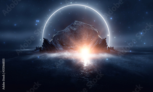 Futuristic night landscape with abstract landscape and island, moonlight, shine. Dark natural scene with reflection of light in the water, neon blue light. Dark neon circle background.