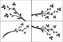 Set Of Silhouette Of A Branch ...