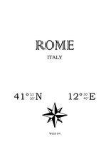 Rome, Italy - Inscription With The Name Of The City, Country And The Geographical Coordinates Of The City. Compass Icon. Black And White Concept, Perfect For A Poster, Background, Card, Textiles