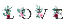 Love Letter With Floral Vector...