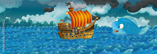 Cartoon scene with old ship sailing during storm with mermaid watching - illu...