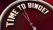 Time To Binge Watch TV Programs Eat Food Clock 3d Animation