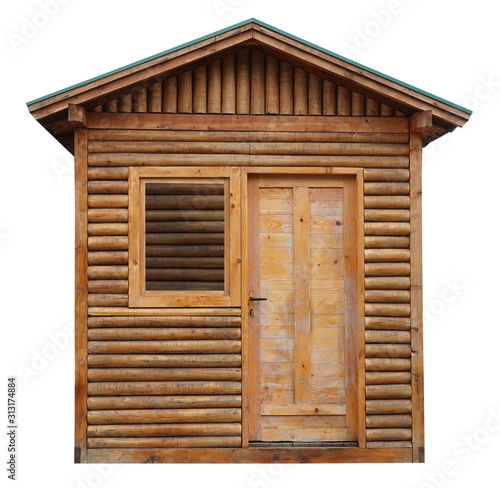 Wooden cottage log cabin chalet hut isolated on white background Fototapete
