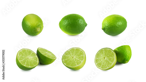 Set of fresh lime whole and halves isolated on white background Canvas Print