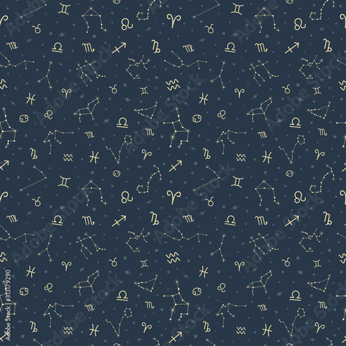 Zodiac symbols and star seamless pattern vector astrology background Wallpaper Mural