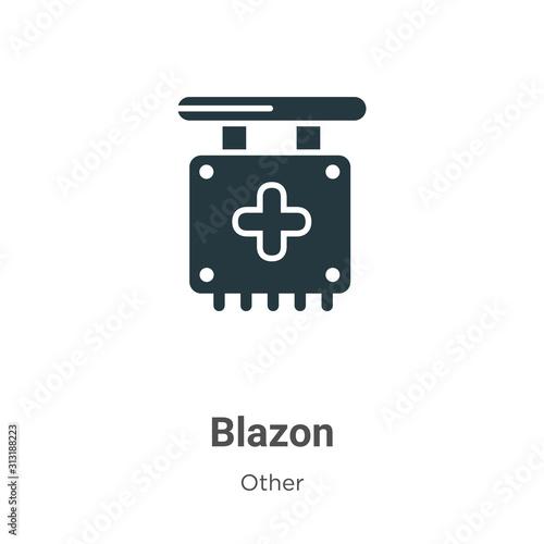 Blazon glyph icon vector on white background Canvas Print