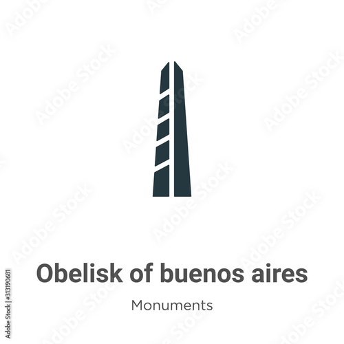Fotografia, Obraz Obelisk of buenos aires glyph icon vector on white background