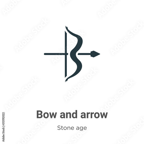 Vászonkép Bow and arrow glyph icon vector on white background