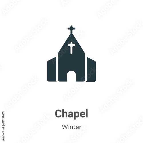 Leinwand Poster Chapel glyph icon vector on white background