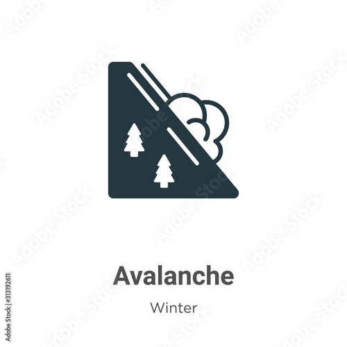 Tableau sur Toile Avalanche glyph icon vector on white background
