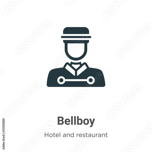 Bellboy glyph icon vector on white background Tapéta, Fotótapéta
