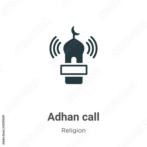 Adhan call glyph icon vector on white background Canvas Print