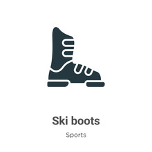 Ski Boots Glyph Icon Vector On White Background. Flat Vector Ski Boots Icon Symbol Sign From Modern Sports Collection For Mobile Concept And Web Apps Design.