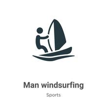 Man Windsurfing Glyph Icon Vec...