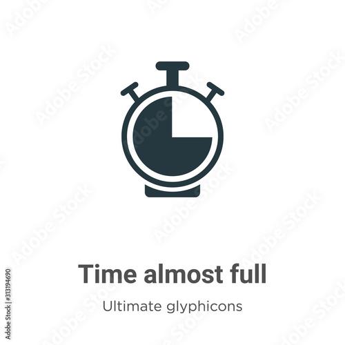 Fotografie, Obraz Time almost full glyph icon vector on white background