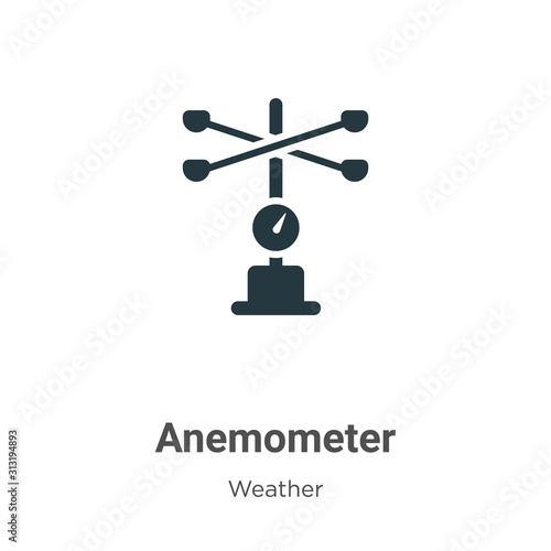 Anemometer glyph icon vector on white background Canvas Print
