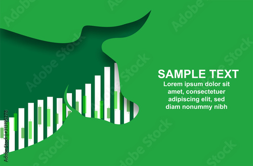 Obraz Stock market. Candle stick graph chart of stock market investment trading. Bullish point, Up trend of graph .  Bull Market. green background. Vector. - fototapety do salonu