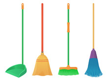 Cartoon Plastic And Wood Broom Set. A Broom Sweeps Dust And Dirt On Scoop. Housework, Cleaning Services, Household,concept. Tools For Cleaning Element Isolated White Background. Stock Vector.