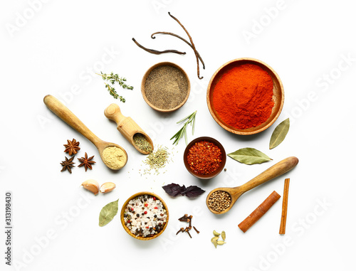 Many different spices on white background Canvas Print
