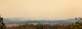 Fototapeta  - Cooma, Australia 2019-12-30 Australian bushfire: smoke haze from bushfires over Cooma, NSW. Unhealthy air conditions.