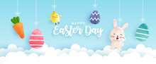Easter Day Banner With Cute Ch...