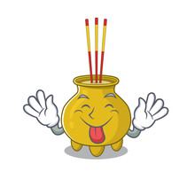 Cute Chinese Incense Cartoon Mascot Style With Tongue Out