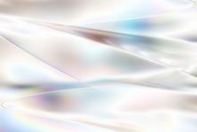 白く透明感の美しい虹色のメタリックなクールなガラス質感のアブストラクト