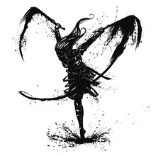 Silhouette Of A Graceful Warrior Girl With Pair Of Blades Beautiful Long Hair Jumping On One Leg And Making A Double Cut Leaving A Trace Of Ink Blots And Splashes.