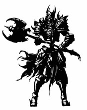A Skeleton Knight With A Huge Axe In His Hands, Dressed In Spiked Armor And A Helmet With Horns, And A Sinister Skull Inside, Ragged Rags Hanging From The Sides. 2D Illustration.