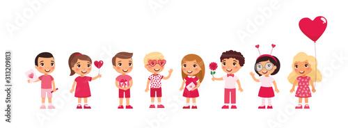 Fotografiet Little boys and girls dating, celebrating Valentines Day flat vector illustration