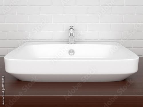 Bathroom basin with faucet. Interior design Canvas Print