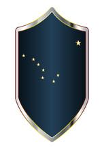 Alaska State Flag On A Crusader Style Shield