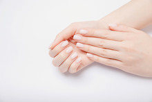 Stylish Trendy Nail Young Woman Hands Pink Manicure On White Background