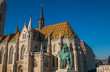 Detail of Matthias Church, located in Budapest, Hungary, in front of the Fisherman's Bastion at the hill of Buda's Castle District