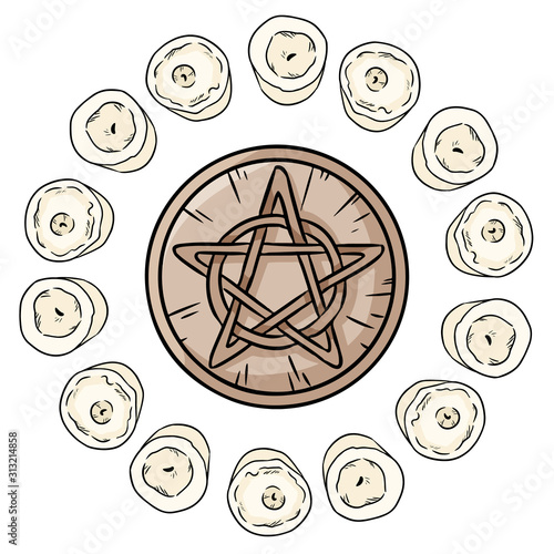 Pentacle occult sign in a circle of white candles Canvas Print