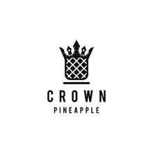 Pineapple Logo Design Template.. Crown Logo Design. Pineapple Crown Logo