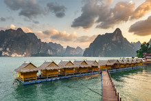 Raft Houses On Cheow Lan Lake In Khao Sok National Park At Sunset