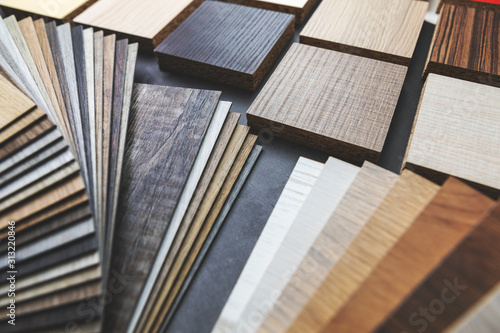 Obraz variety of furniture and flooring material samples for interior design - fototapety do salonu