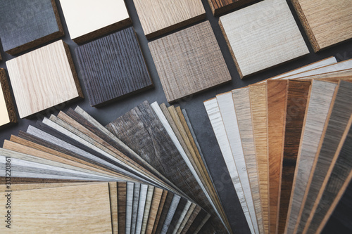 Fotografiet variety of wood texture furniture and flooring material samples for interior des