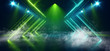 canvas print picture - Smoke Fog Sci Fi Neon Green Blue Triangle Retro Glowing Lasers Spot Lights Empty Stage Podium Room Showcase Night Club Garage Underground Cyber Background 3D Rendering