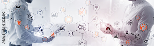 Fototapeta Abstract technology industrial Business process organisation structure website header banner. obraz