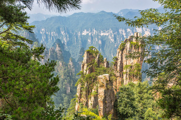 Panel Szklany Podświetlane Góry Amazing view of natural quartz sandstone pillar the Avatar Hallelujah Mountain among green woods and rocks in the Tianzi Mountains, the Zhangjiajie National Forest Park, Hunan Province, China.