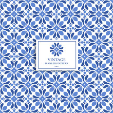 Blue And White Vintage Vector ...